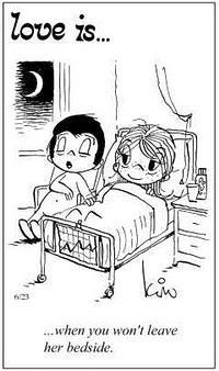 Любовь это  когда не хочешь оставлять ее одну в постели