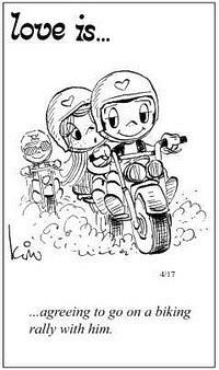 Любовь это  согласиться участвовать с ним в ралли на мотоциклах