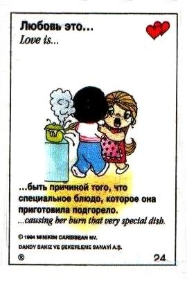 Любовь это  быть причиной того, что ее коронное блюдо подгорело (вкладыши 1993 года)