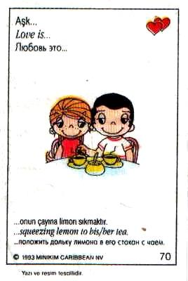 Любовь это  положить дольку лимона в ее чай (вкладыши 1993 года)