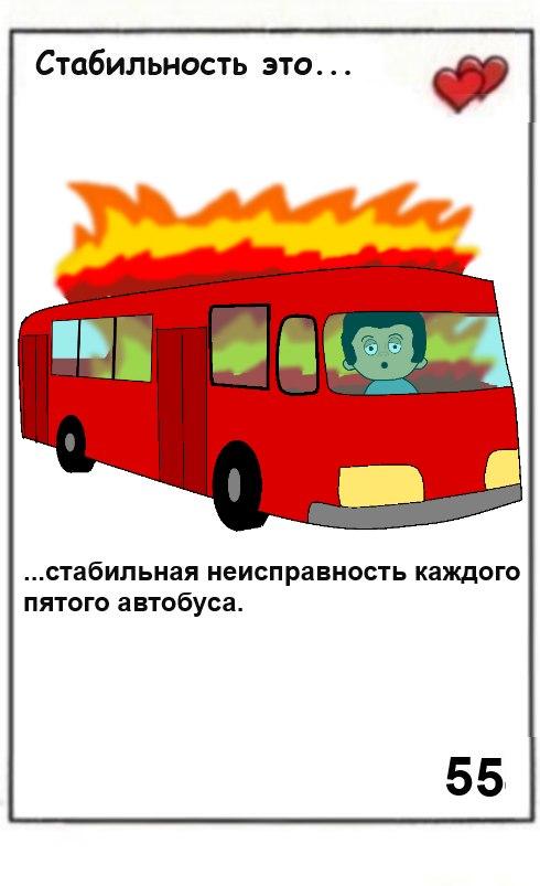 Стабильность это стабильная неисправность каждого пятого автобуса